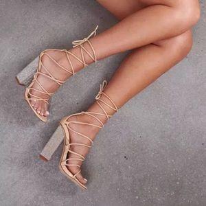 Brand new crystal studded heels cape robin